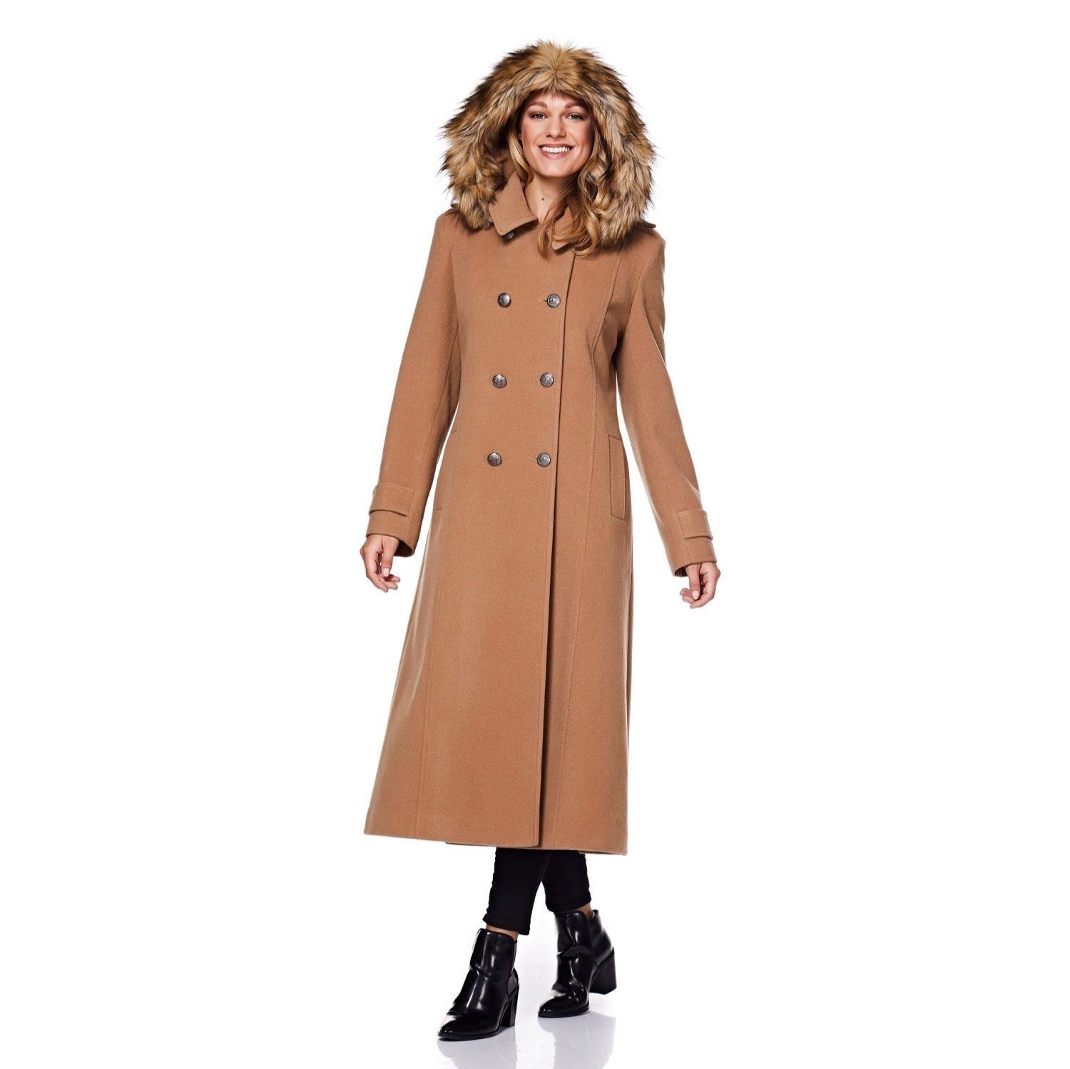 De La Creme Camel Womens Detachable Hooded Military Winter Coat Size 14