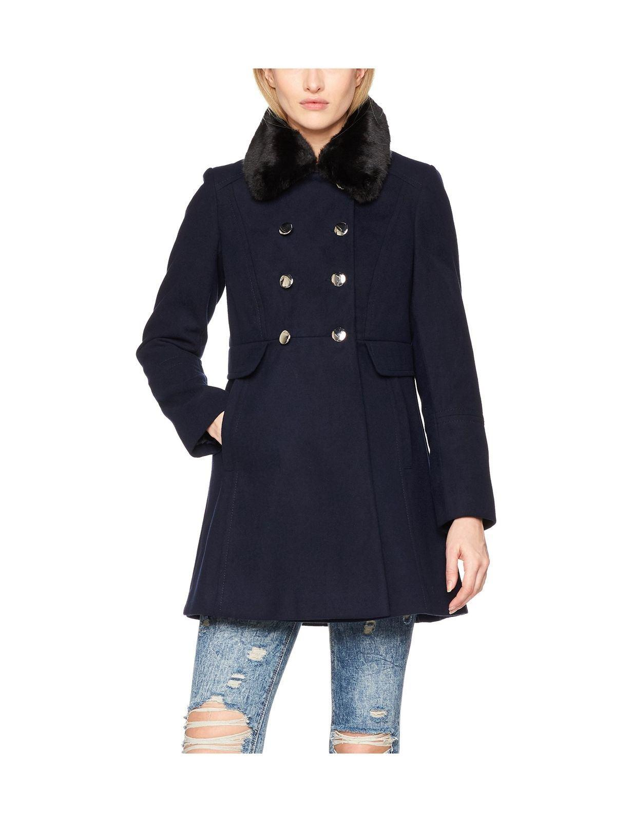 Anastasia - Women's Double Breasted Coat With Fux Fur Collar