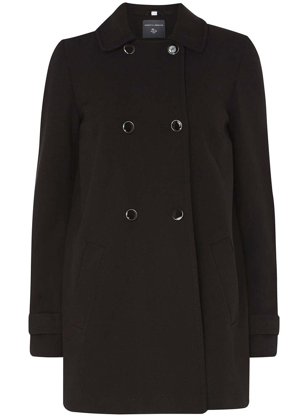 Ex Dorothy Perkins Double Breasted Black Swing Coat