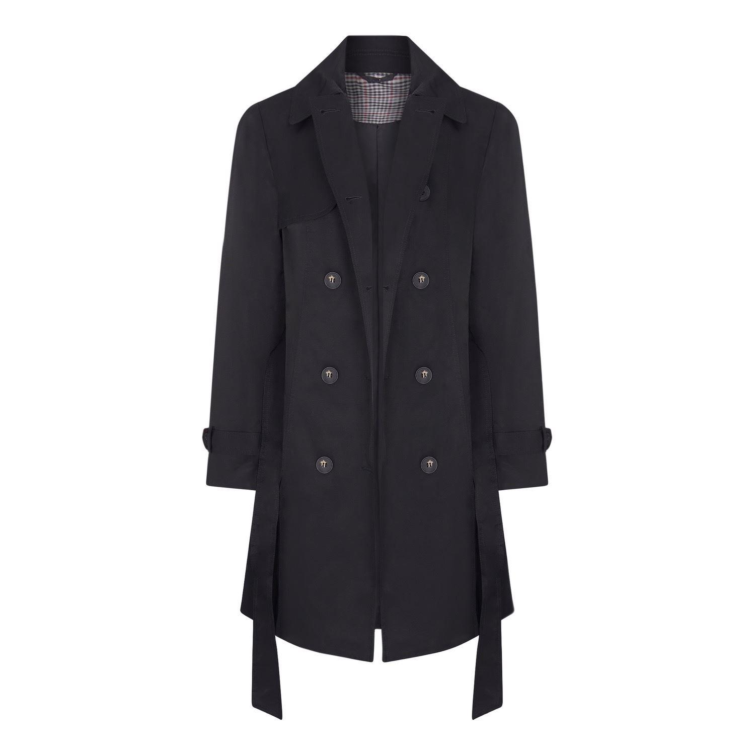 Womens Black Trench Raincoat