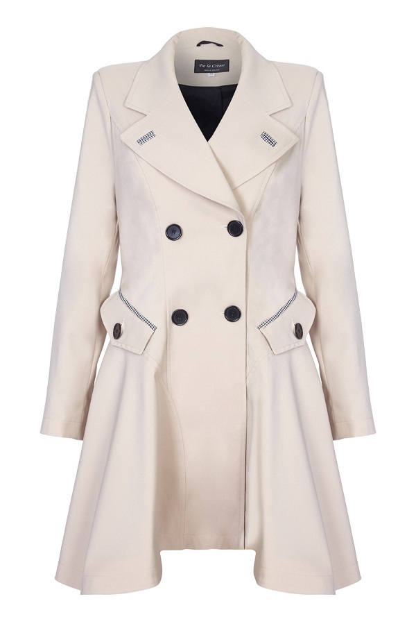 De La Creme - Womens Spring Fit & Flair Laced Back Raincoat