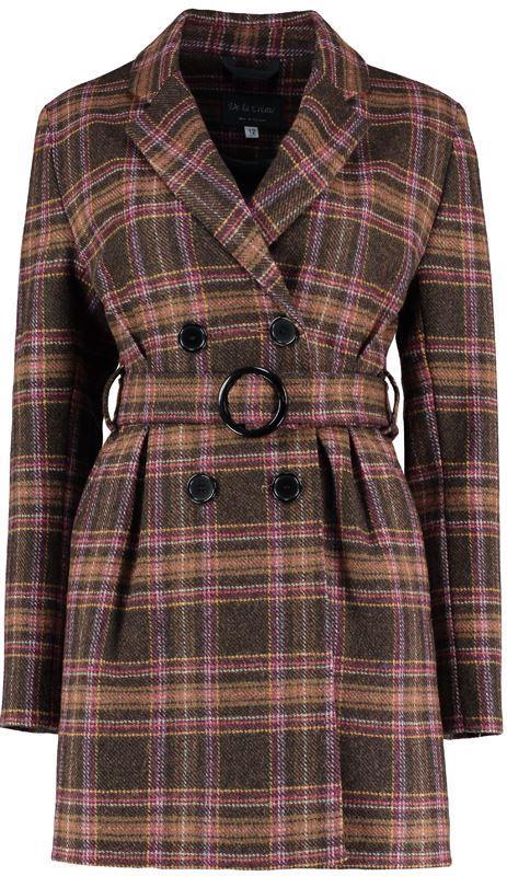 De La Creme- Brown Check Womens Winter Belted Jacket