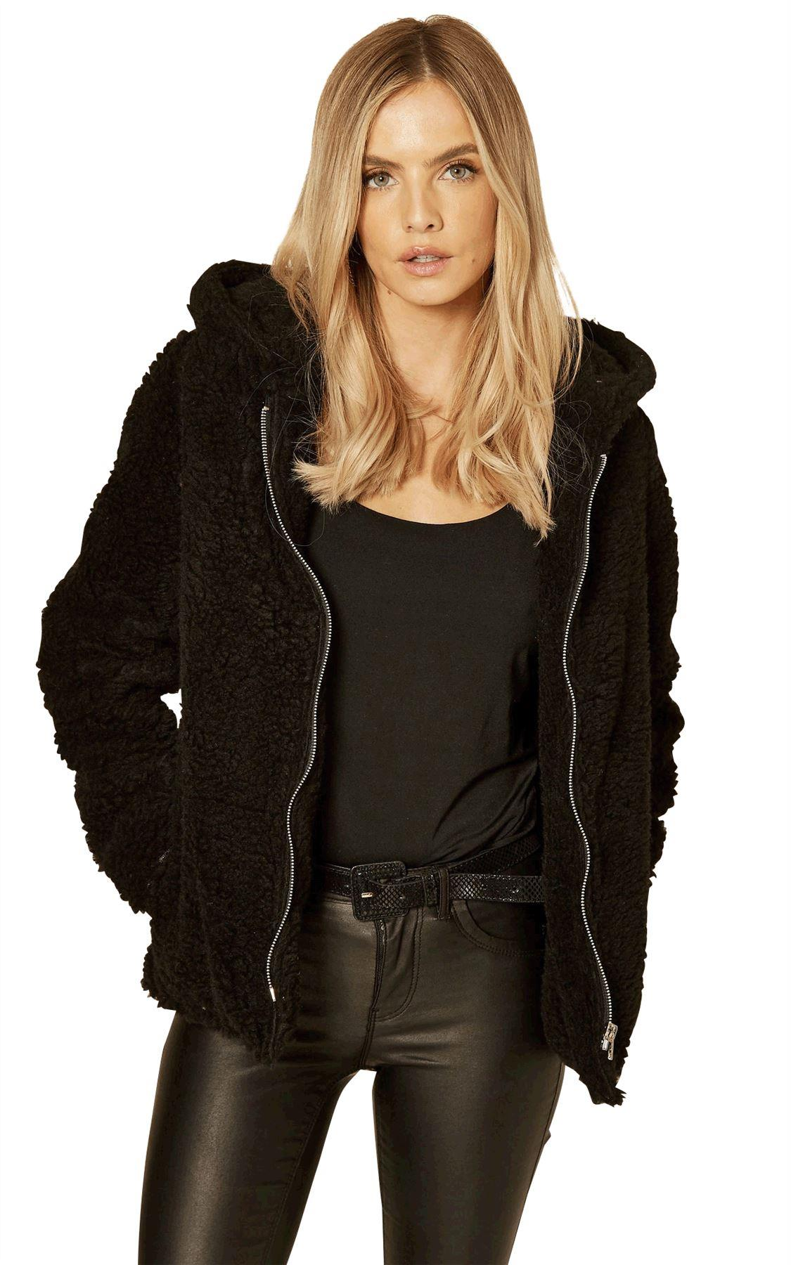 De La Creme Short Hooded Zip Teddy Jacket