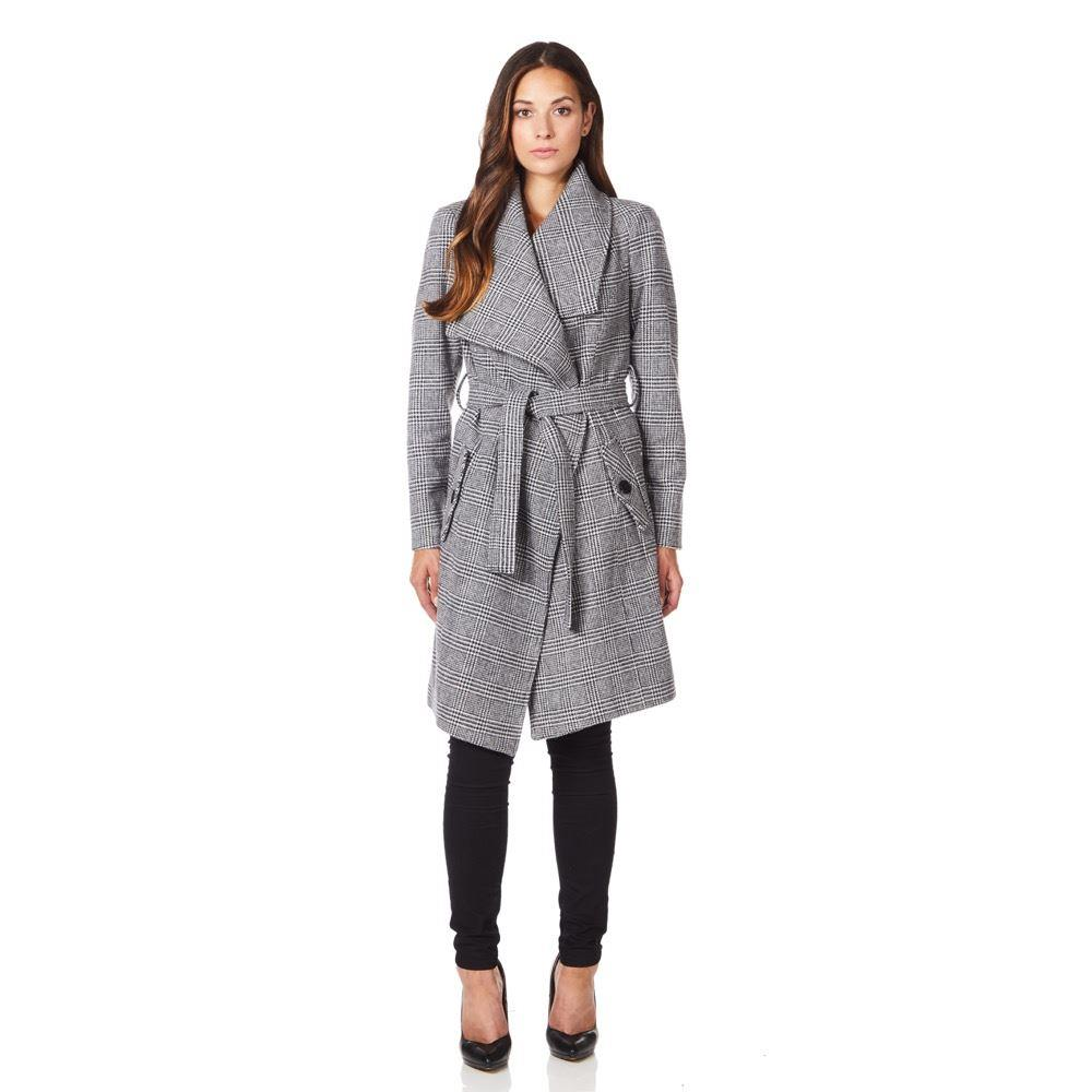 Anastasia - Womens Large Collar Black Prince of Wales Check Womens Winter Belted Wrap Coat