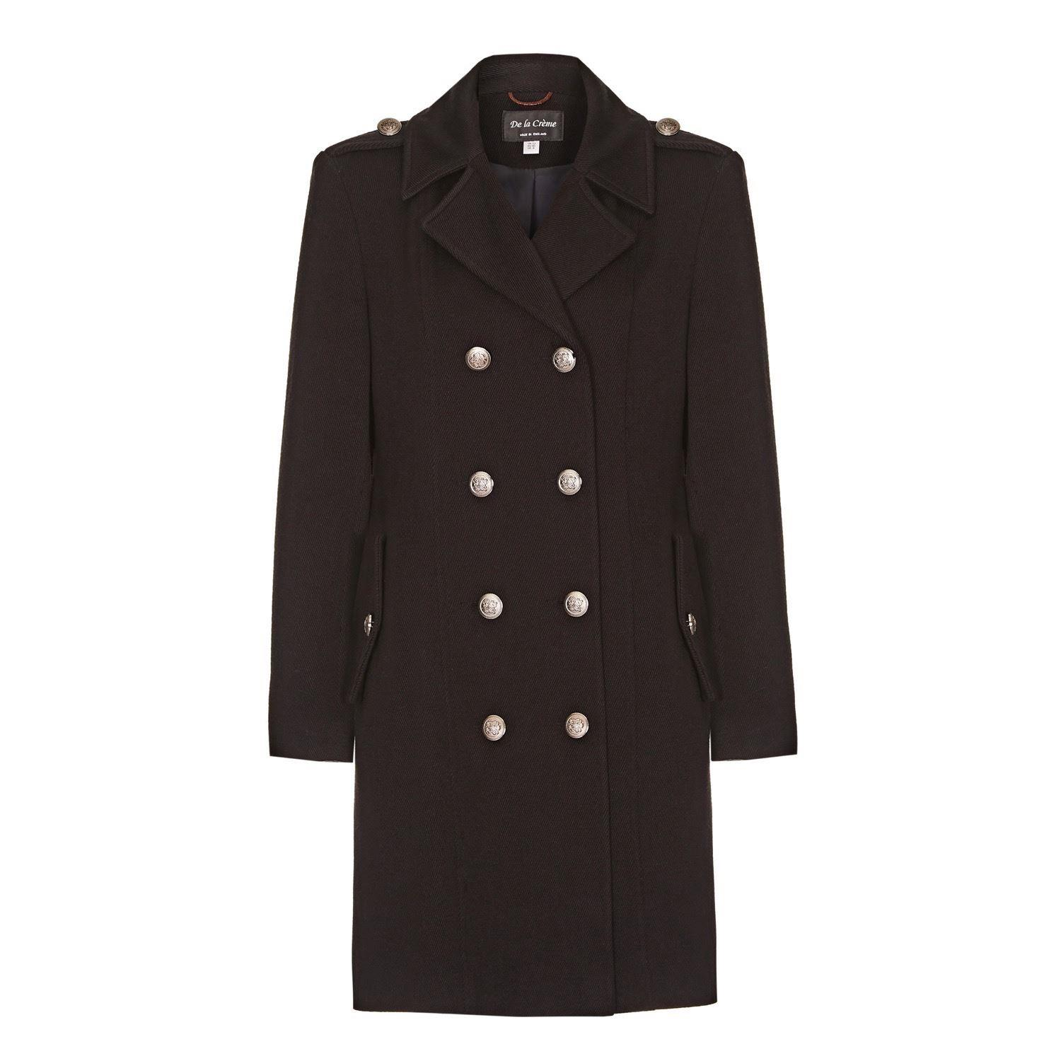 Black Womens DB Twill Military Coat