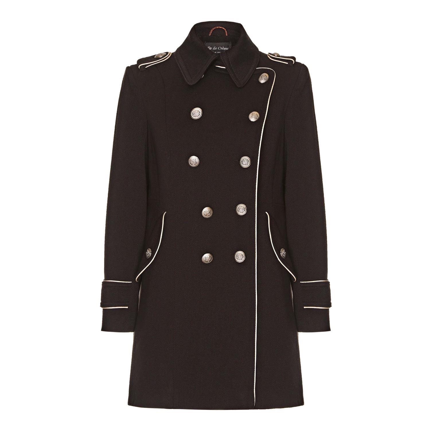 Anastasia Womens Winter Military Coat With Piping