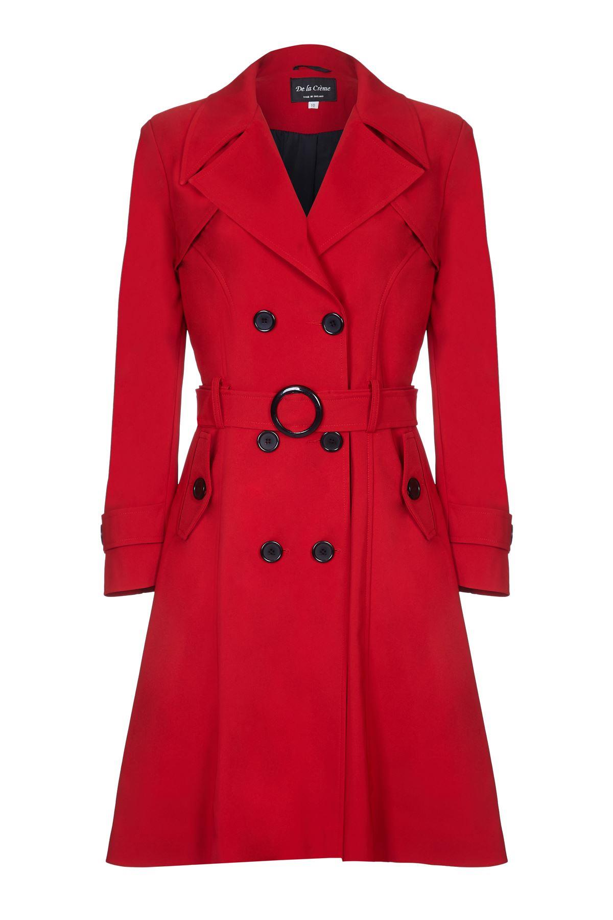 De La Creme - Red Womens Spring Belted Trench Coat