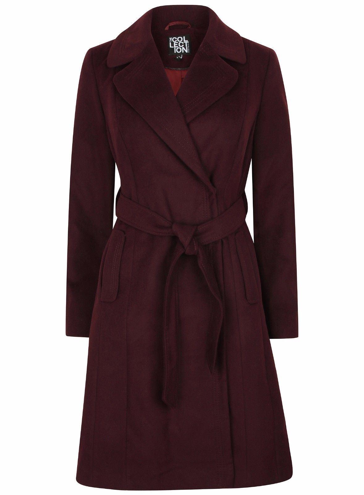Anastasia Womens Burgandy Belted Wrap Winter Coat