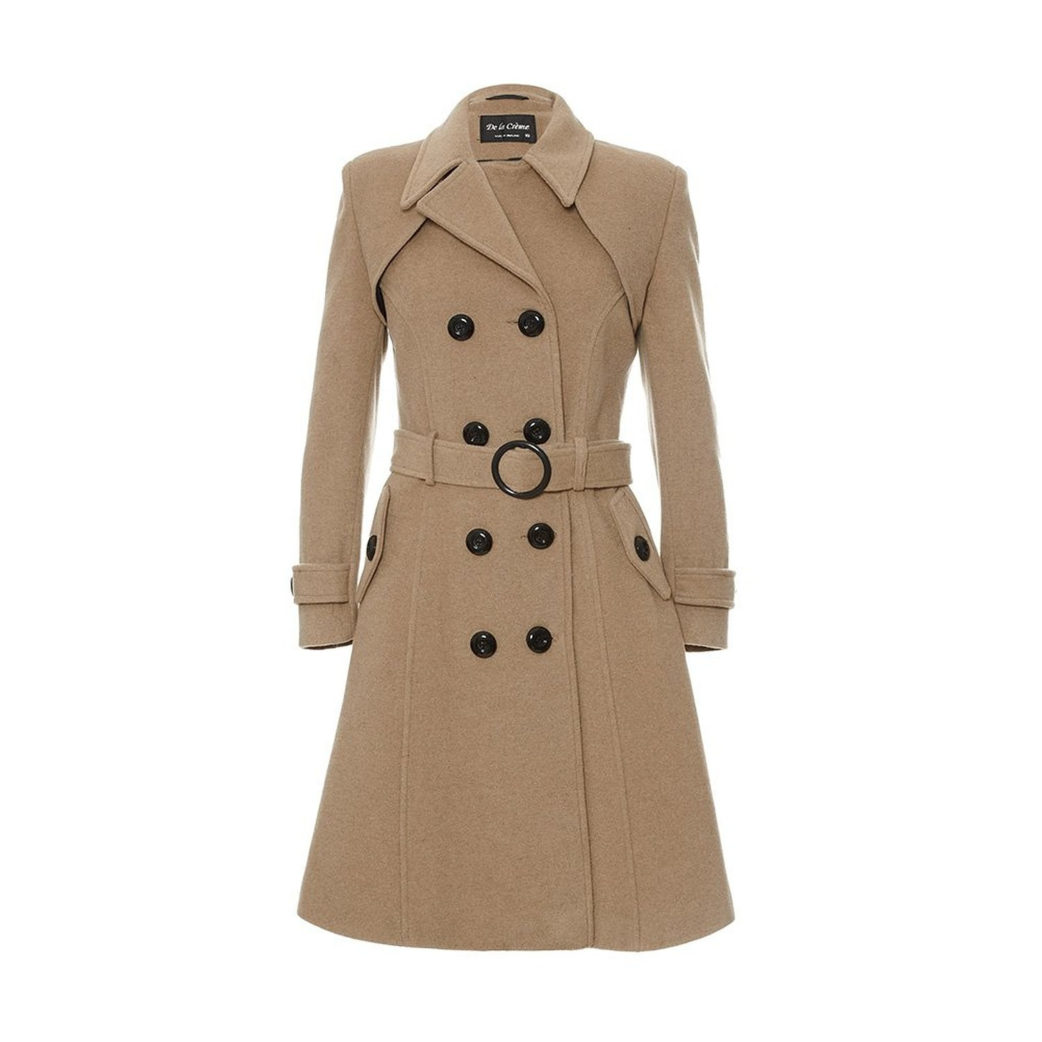 De La Creme - Womens Double Breasted Cashmere Wool  Trench Coat