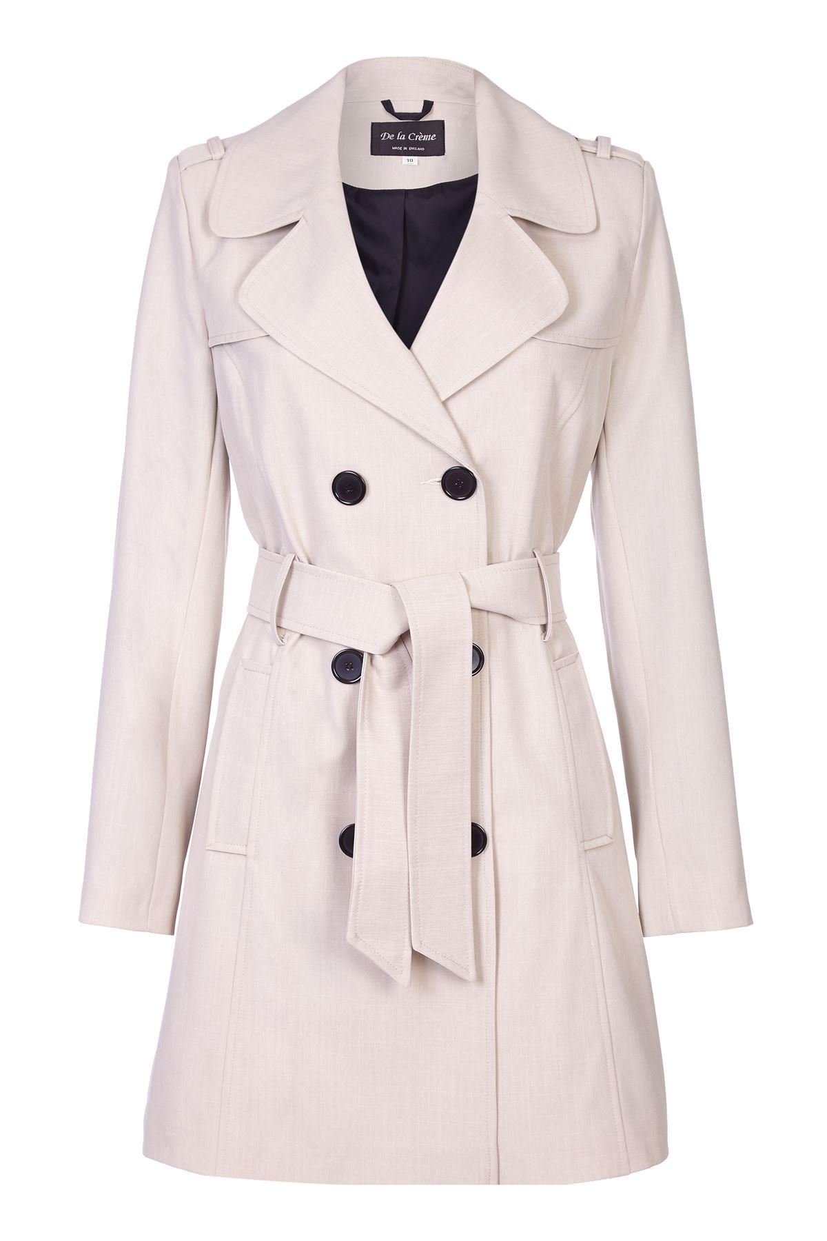 De La Creme - Womens Spring Tie Belted Trench Coat