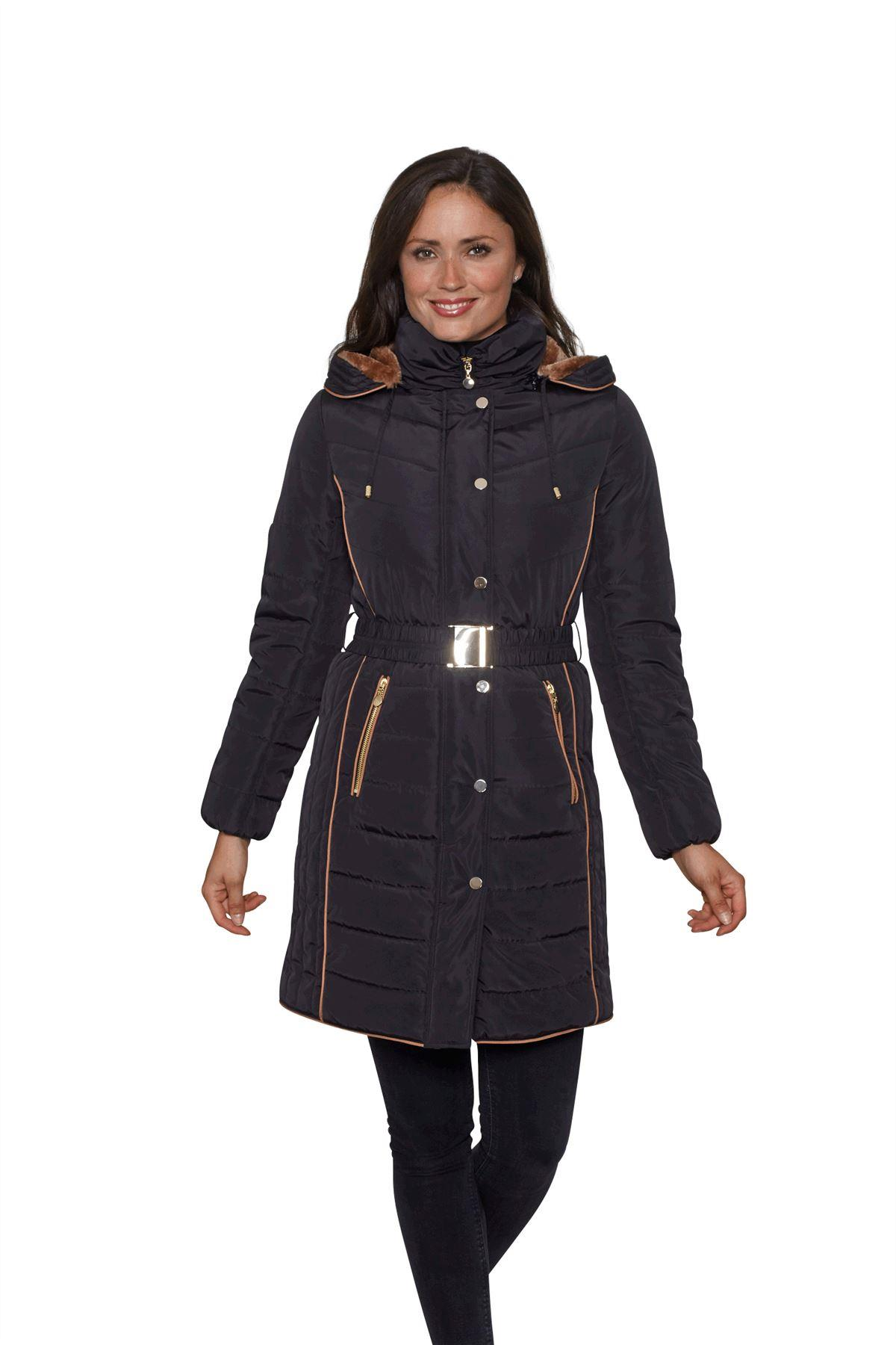 David Barry Womens Belted Padded Warm Winter Coat