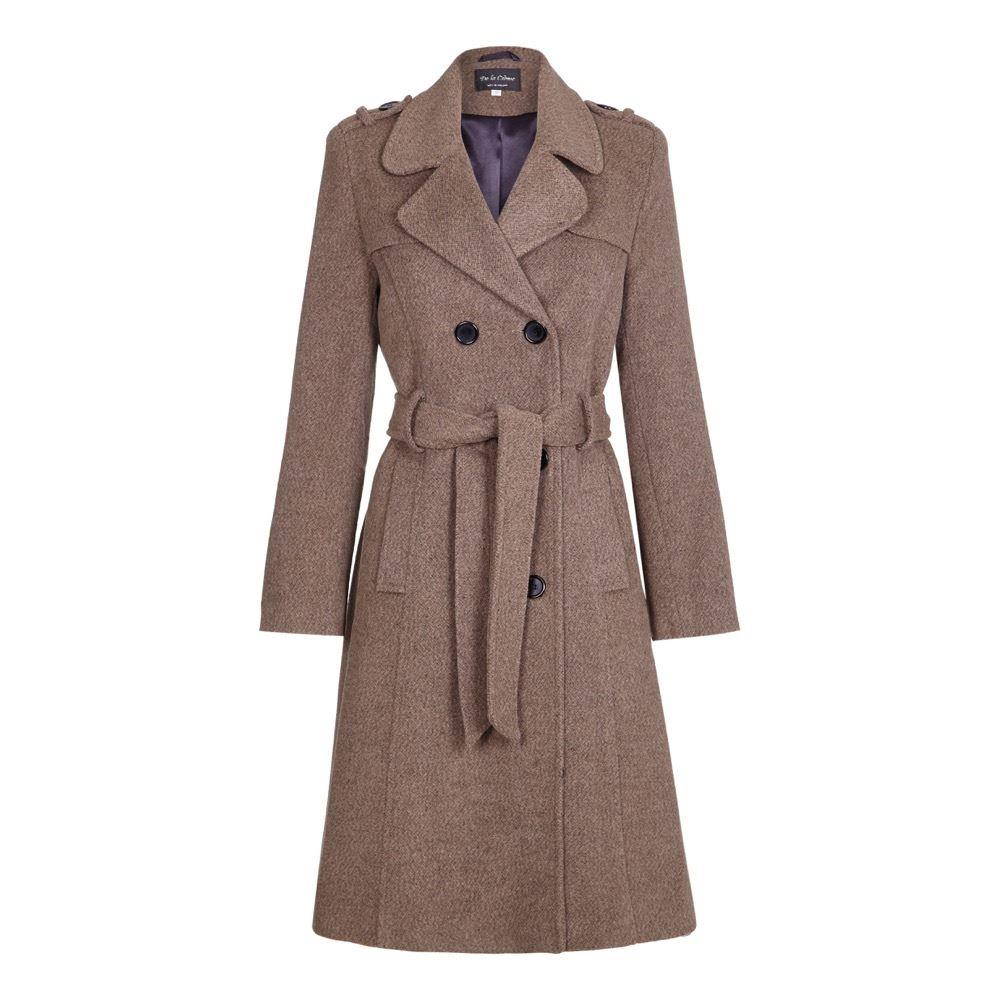 De La Creme - Womens Wool Belted Long Military Trench Coat