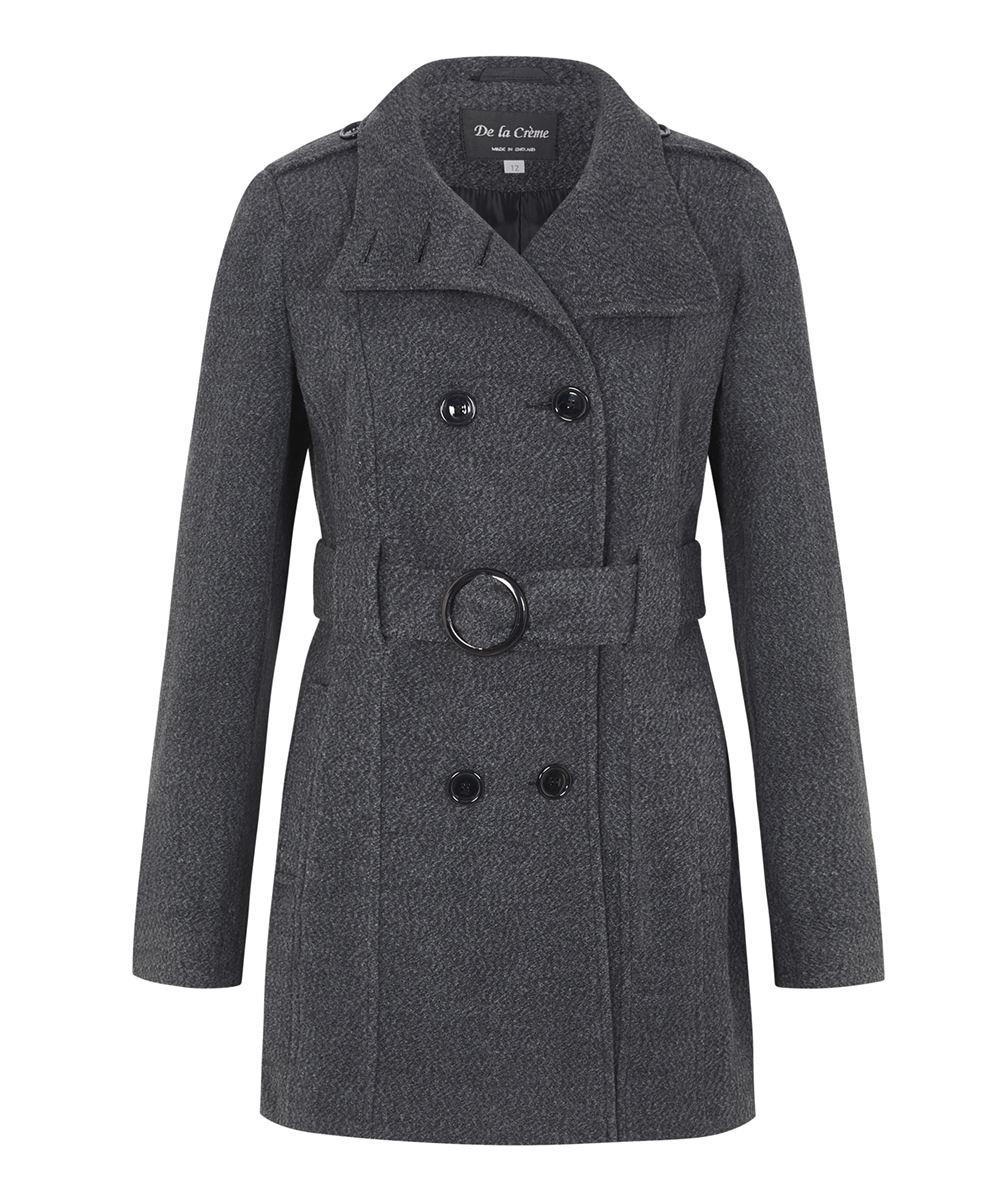 De la Creme - Women`s Wool Belted Winter Coat
