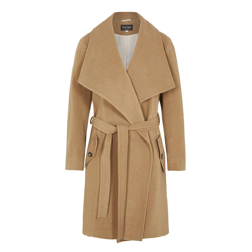 De la Creme - Womens Winter Wool Cashmere Wrap Coat with Large Collar
