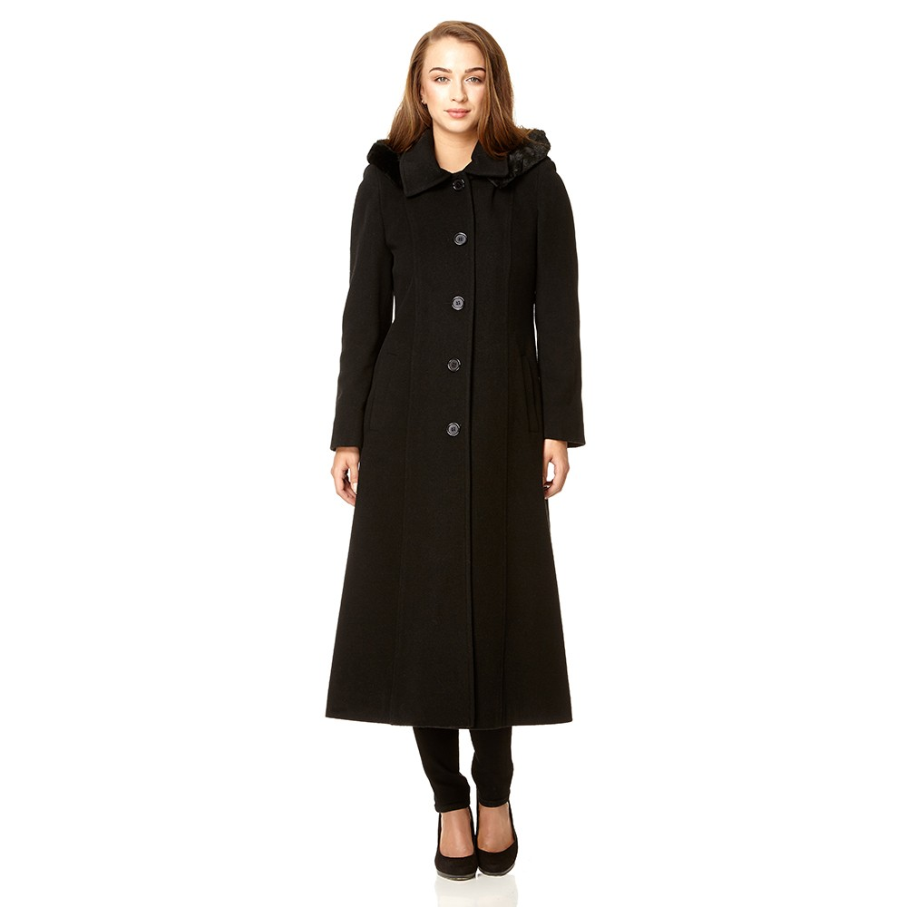 Anastasia - Long Womens Fur Hood Cashmere Wool Winter Coat