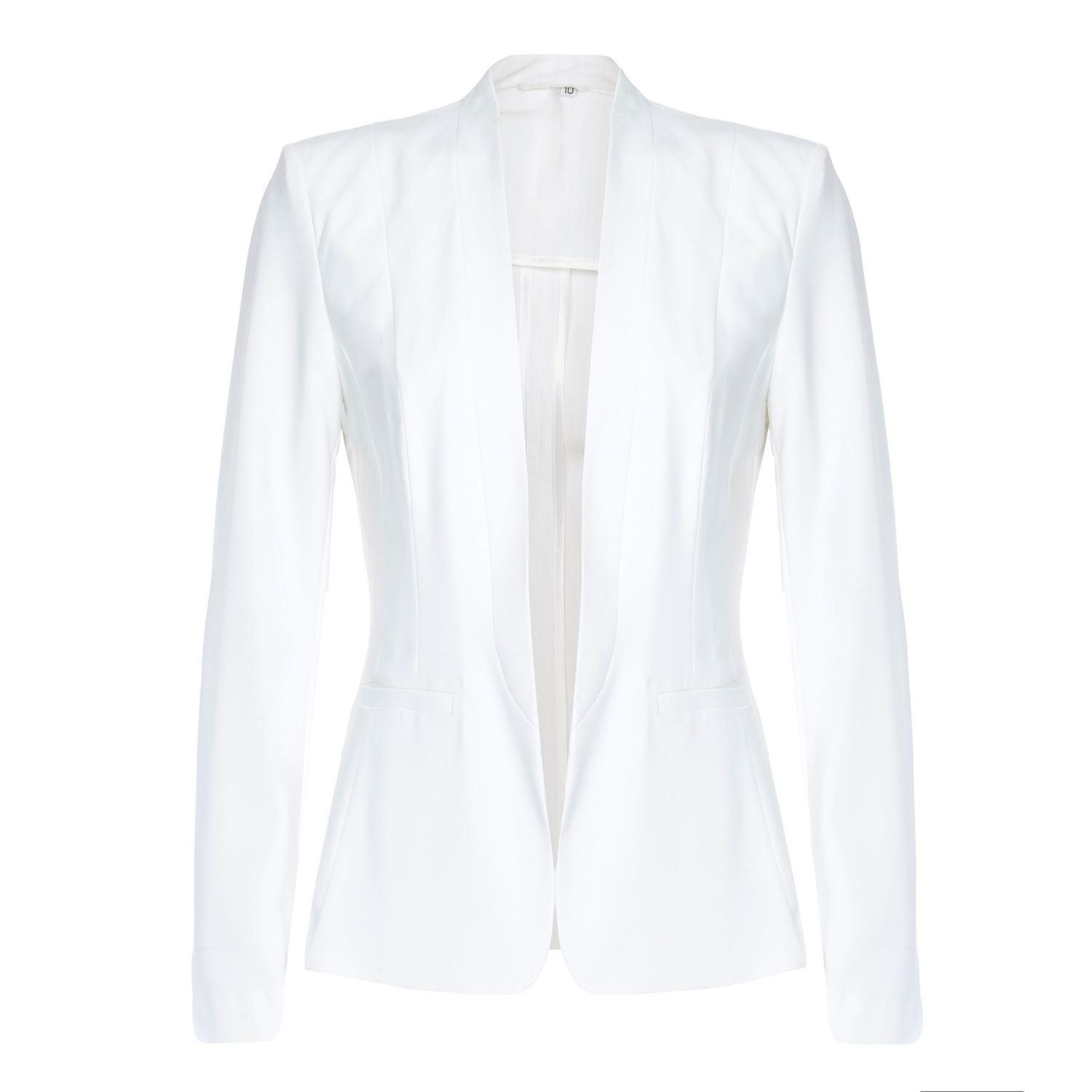 Anastasia - Womens White  Unlined Spring Blazer Jacket