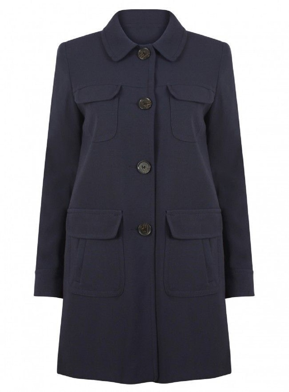 Anastasia-Womens Navy Blue Spring Fashion Coat