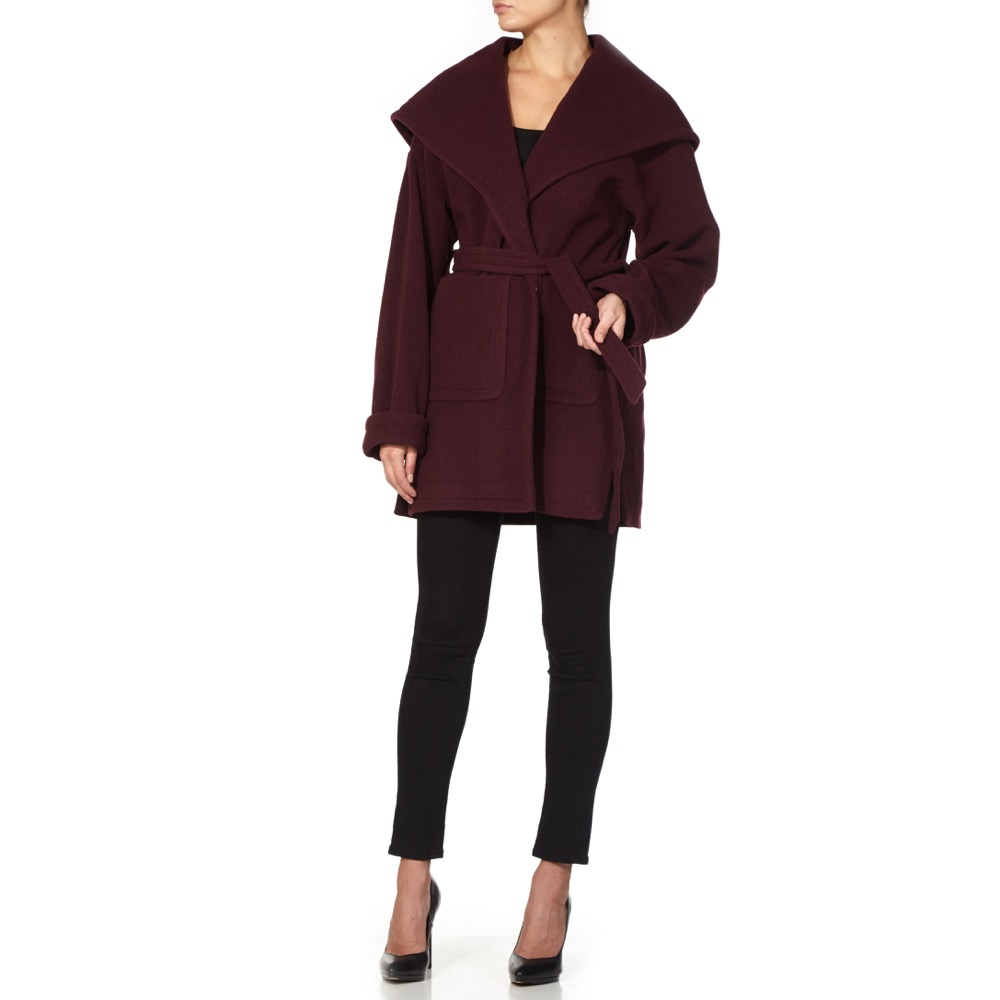 De la Creme - Women`s Winter Wool Cashmere Wrap Hooded Coat