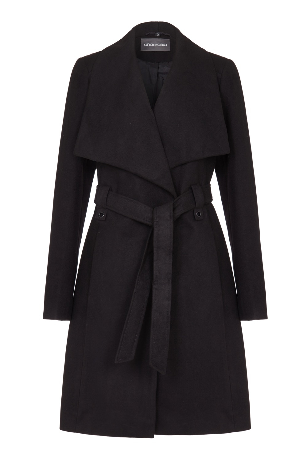 Anastasia Womens Black Large Collar Belted Wrap Winter Coat