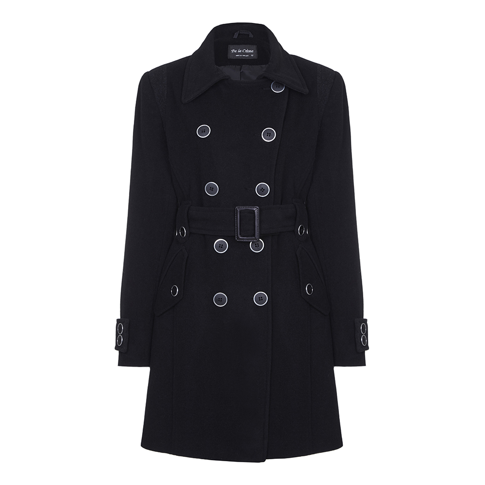 Anastasia - Black Women's Belted Winter Coat
