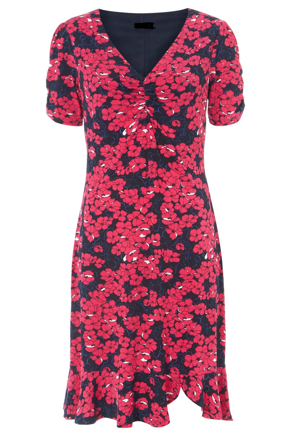 Anastasia - Frill Hem Tea Dress in Fuchsia Floral Print