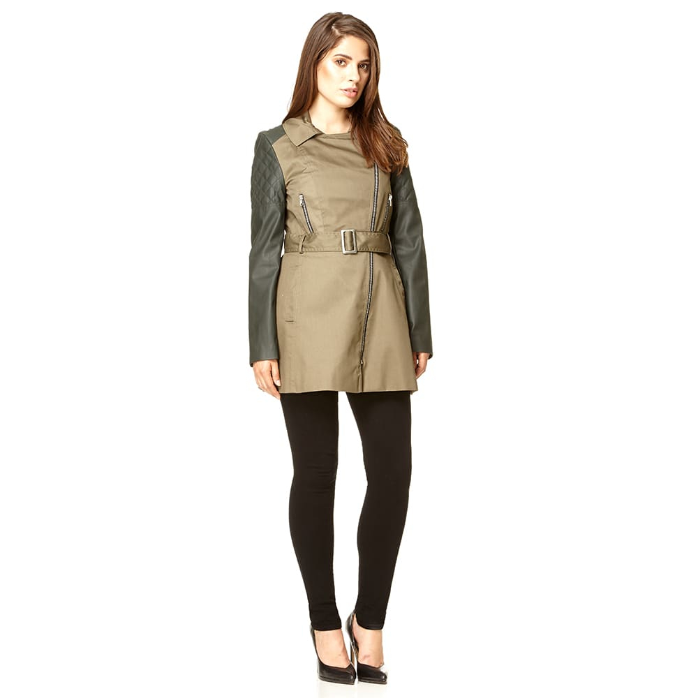 Anastasia - Khaki Jacket with PU Sleeves