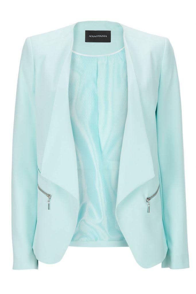 Anastasia - Pastel Mint Women's Waterfall Zip Blazer