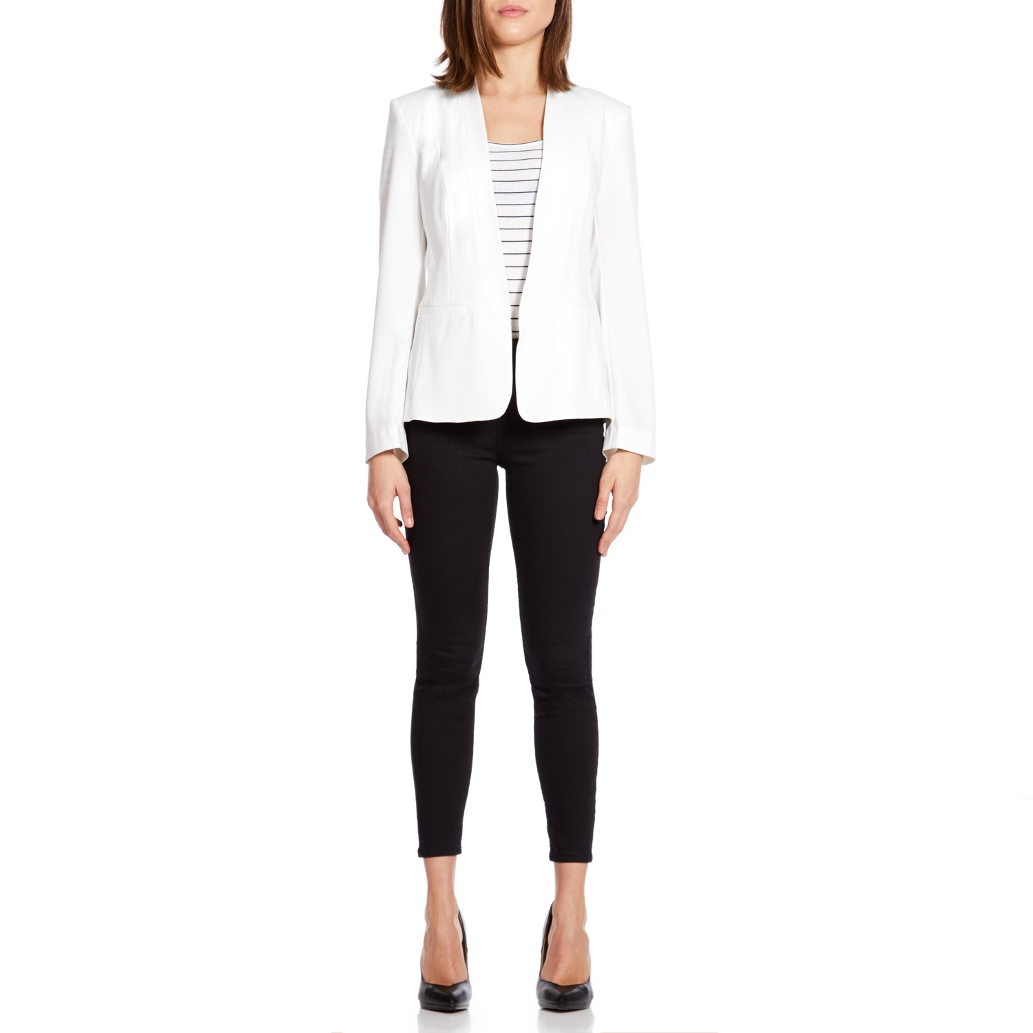 Anastasia - White Womens Unlined Spring Blazer Jacket