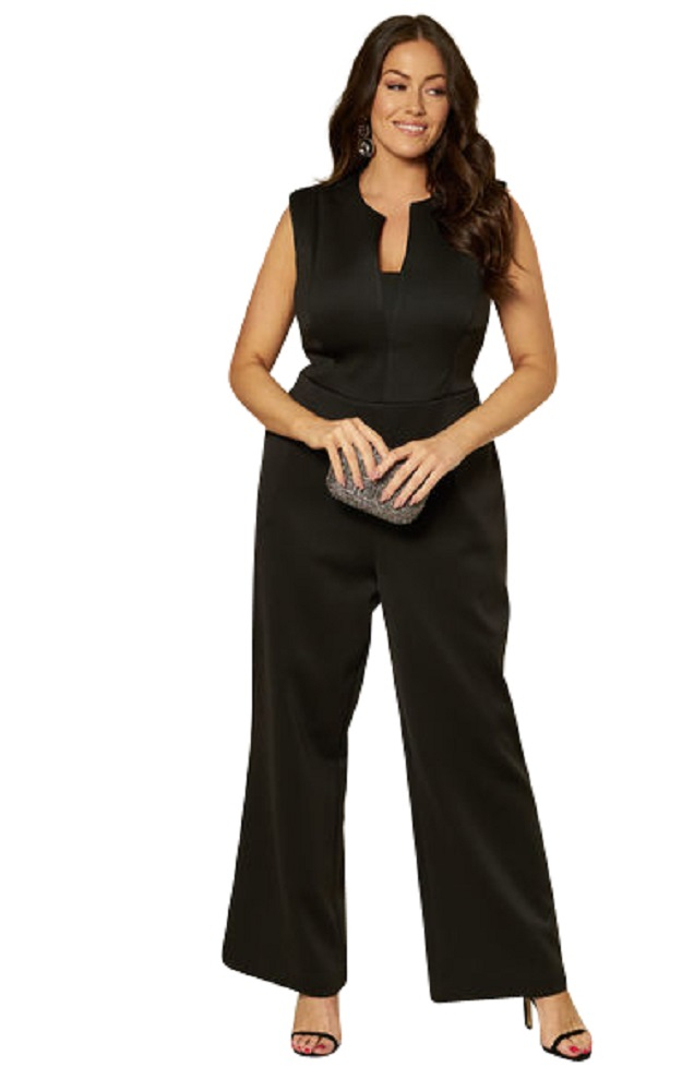 Black Curve V Neck Jump Suit