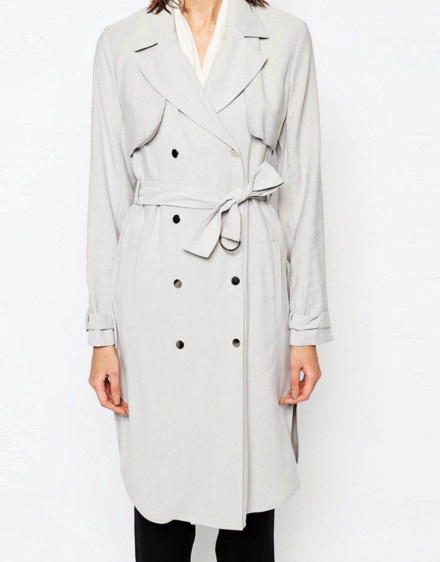 Anastasia - Womens Soft Grey Unlined Trench Coat