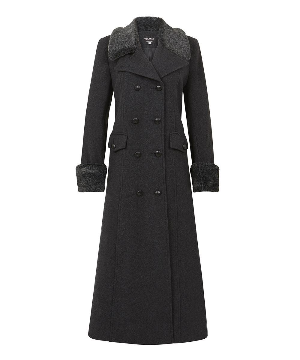 De la Creme - Womens Winter Wool Cashmere Military Coat Faux Fur Collar