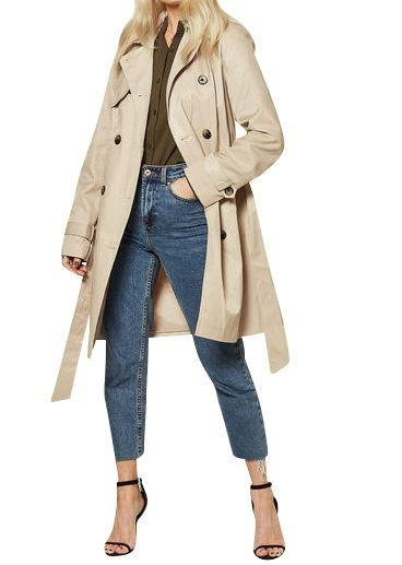 Anstasia Beige Belted Womens Showerproof Trench Coat