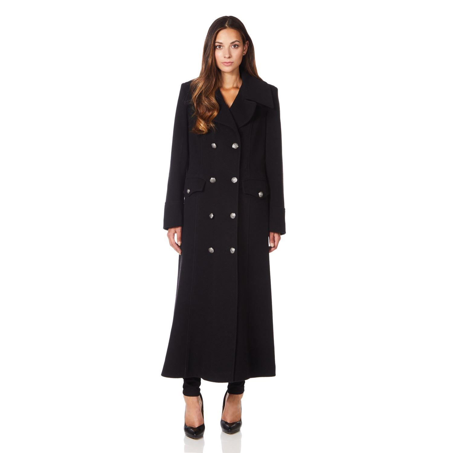 Anastasia - Womens Black Long Military Wool Cashmere Winter Coat