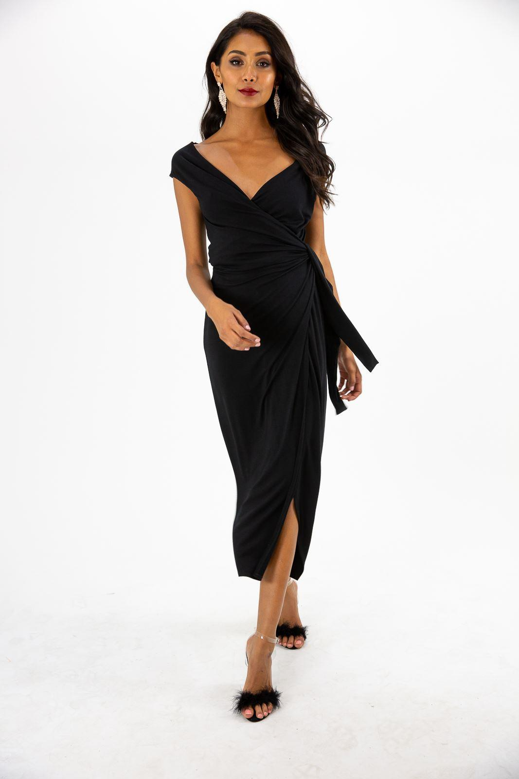 Style Cheat CLARISSA BLACK JERSEY WRAP MAXI DRESS