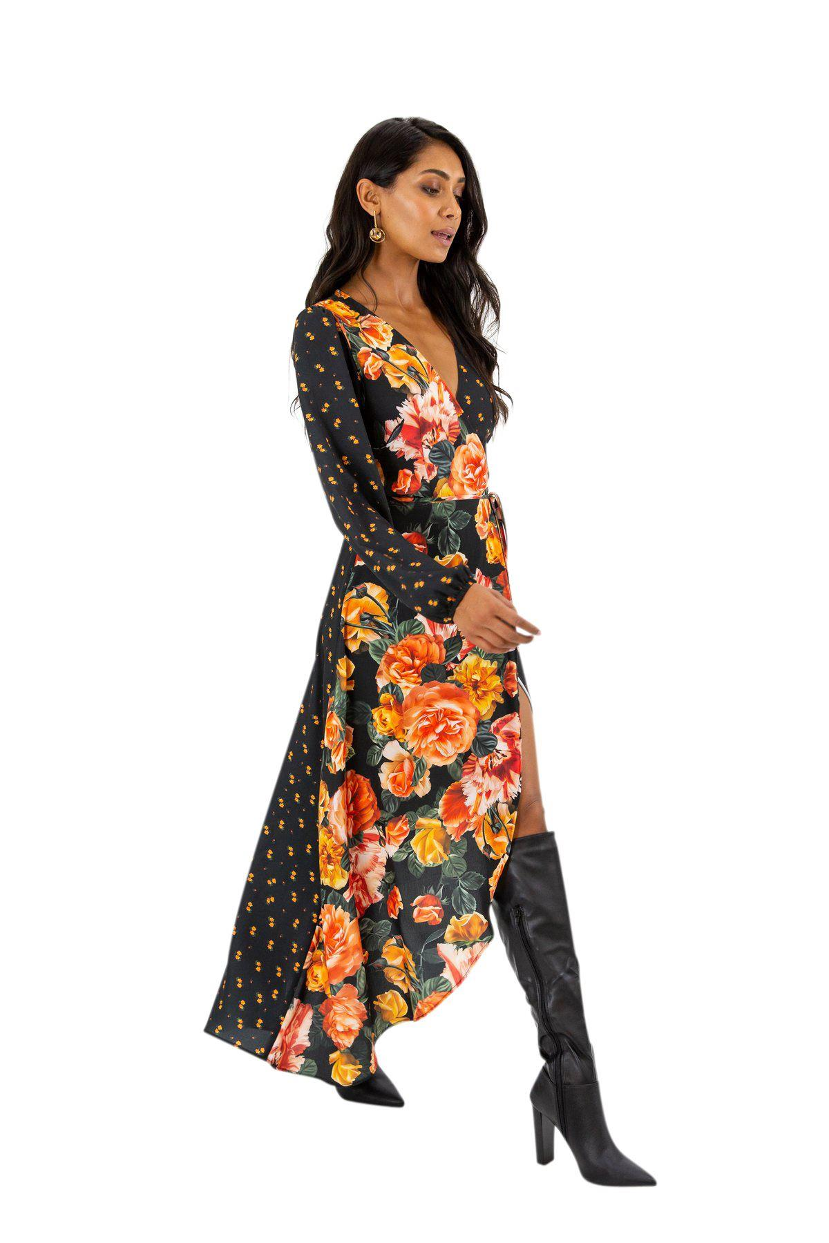 Style Cheat wrap front contrast floral maxi dress in multi flora