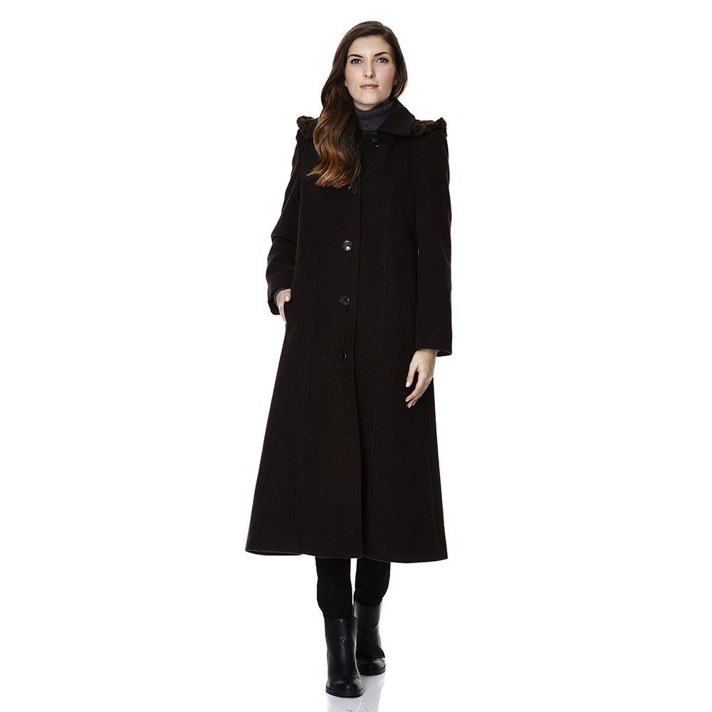 De La Creme - Single Breasted Detachable Fur Hood Wool Winter Coat