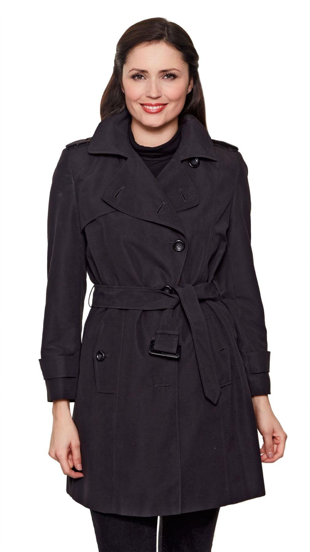 David Barry - Black Womens Short Belted Trench Coat