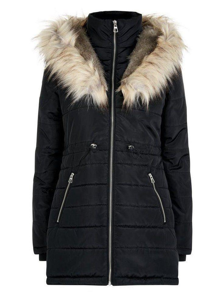 Anastasia -  Womens Black Hooded Faux Fur Trim Padded Parka