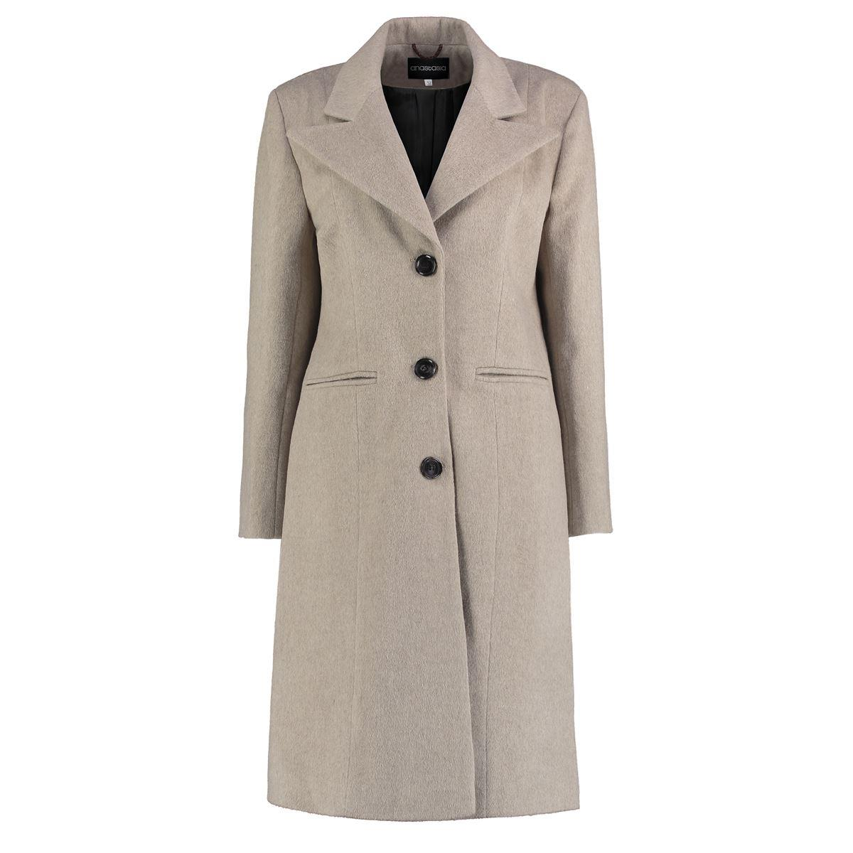 Anastasia - Womens Grey Winter Semi Fitted Wing Collar Coat