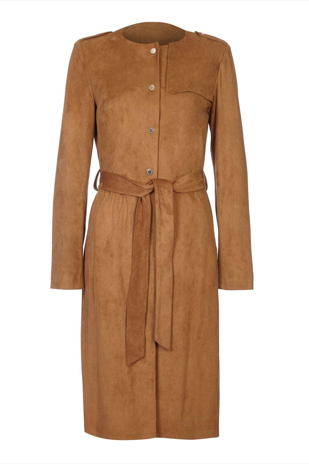 Anastasia Brown Faux Suede Belted Coat