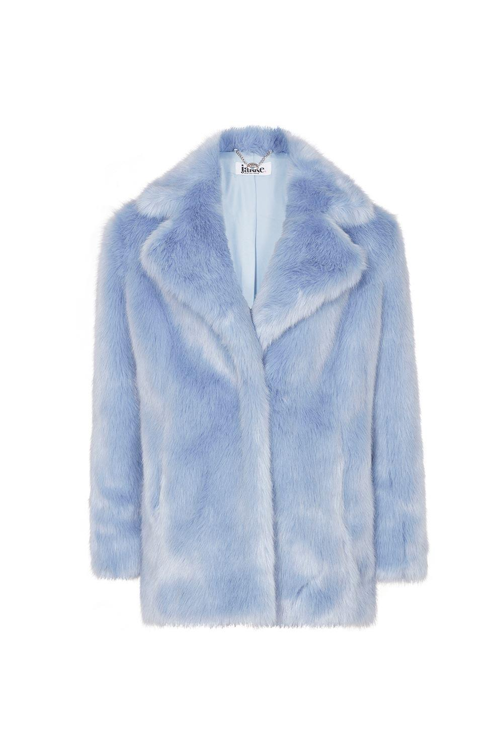Heather Denim Luxe Faux Mongolian Faux Fur Coat