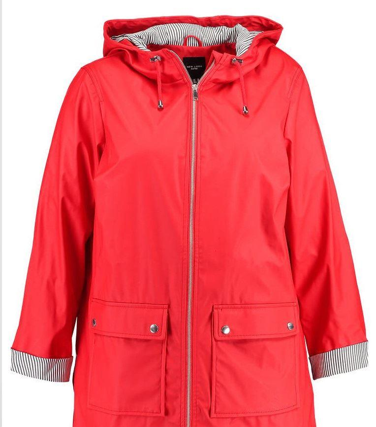 New Look Curve Plus Size Red Water Proof Mac Rain Coat Jacket