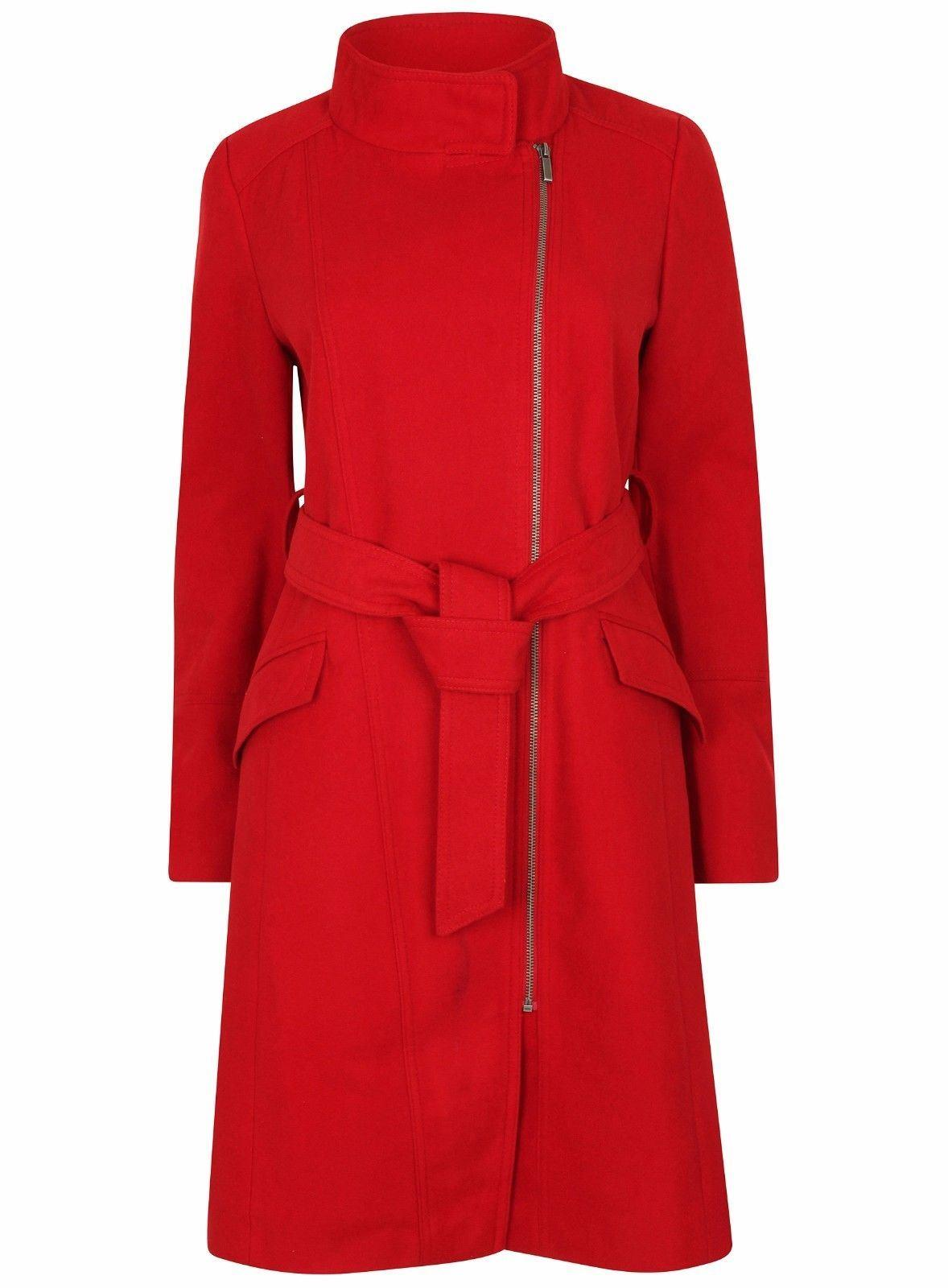 Anastasia Womens Red Zip Belted Winter Coat