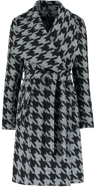 Anastasia - Womens Large Collar Black Dog Tooth Check Womens Winter Belted Wrap Coat