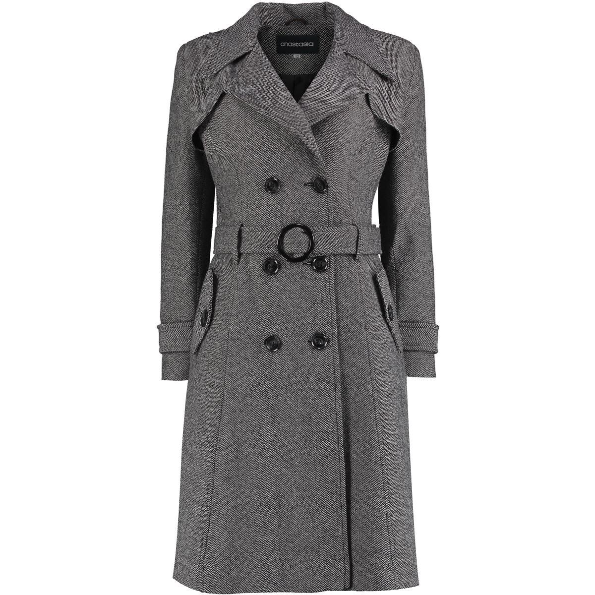 Anastasia - Black White Herring Bone Tweed Winter Womens Trench Coat