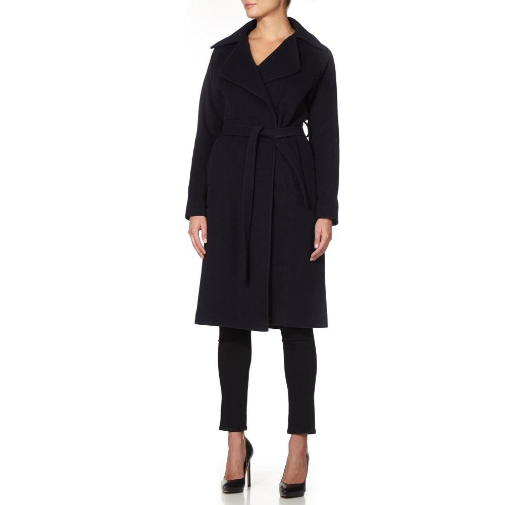Anastasia - Navy Women`s Winter Wool Cashmere Wrap  Coat