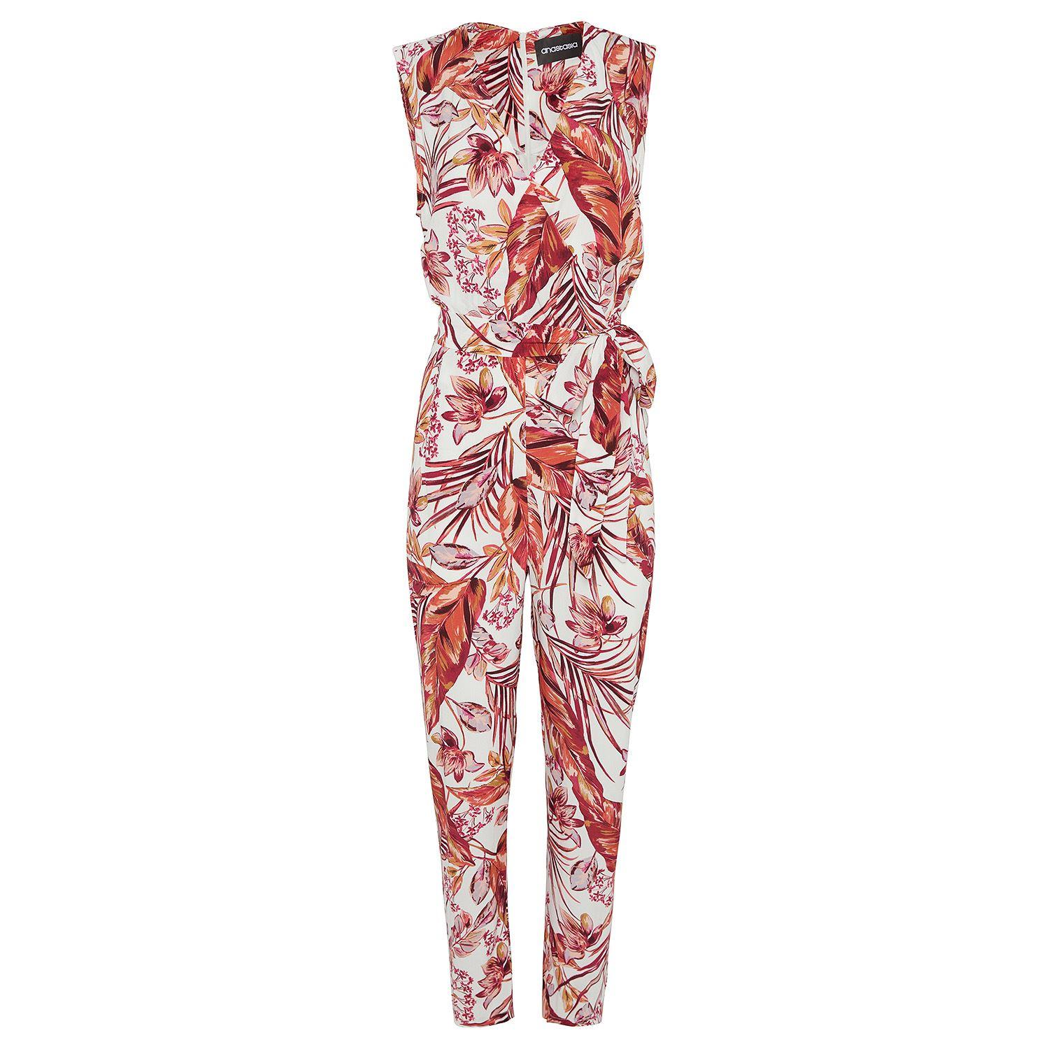 Sleeveless Print Jump Suit With X Over Bodice and Tie Belt