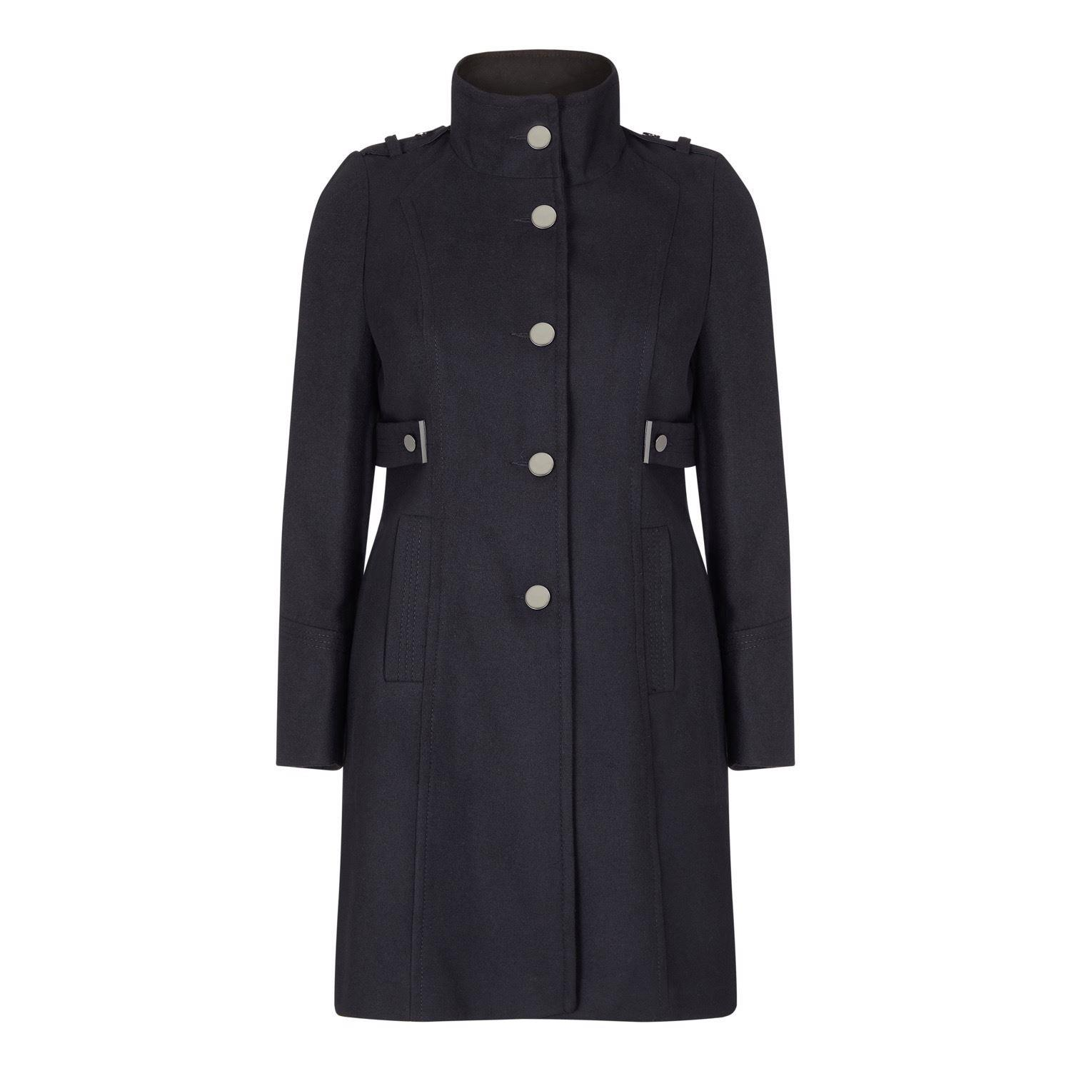 Anastasia -Women's  Stand Collar Single Breasted Coat Withh Silver Buttons and 2 zip Pockets