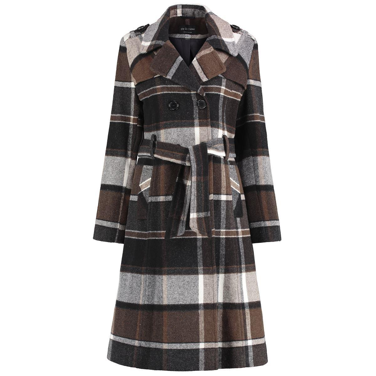 De La Creme - Women's Check Tie Belt Winter Wool Coat