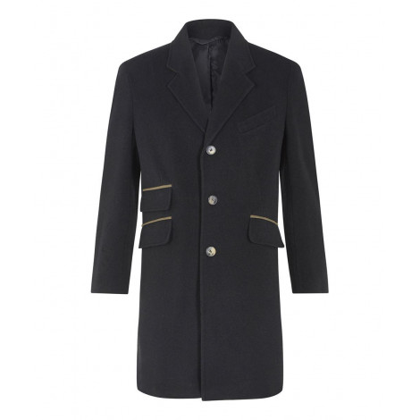 Classic- Men`s Black Wool Cashmere Winter Slim Fit Luxury Coat